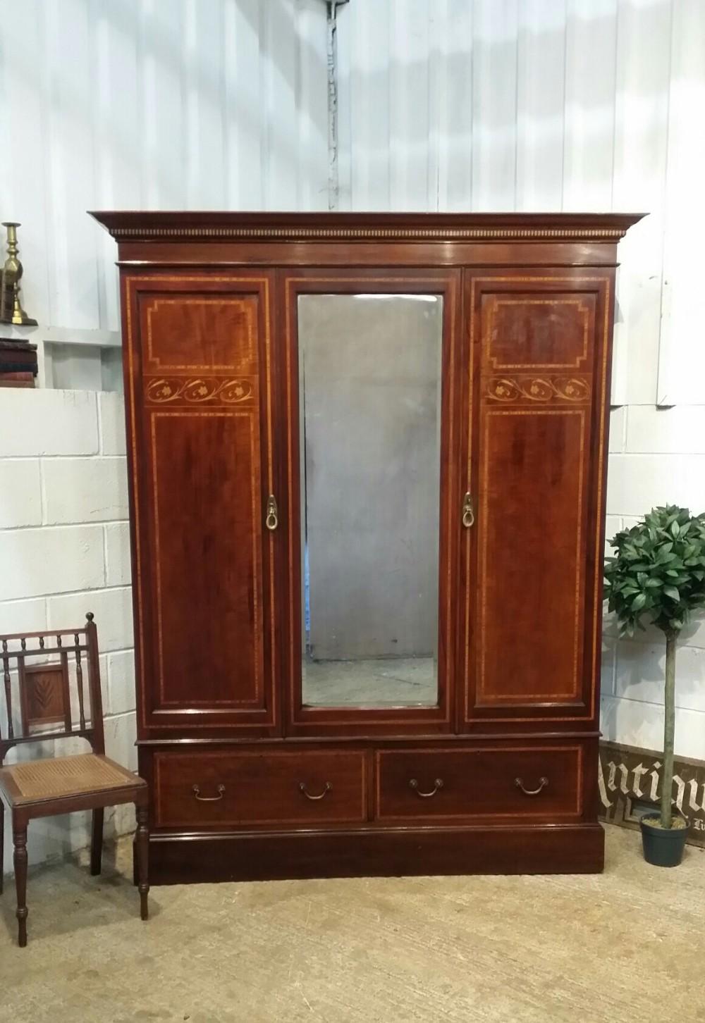 antique edwardian inlaid mahogany double wardobe c1900