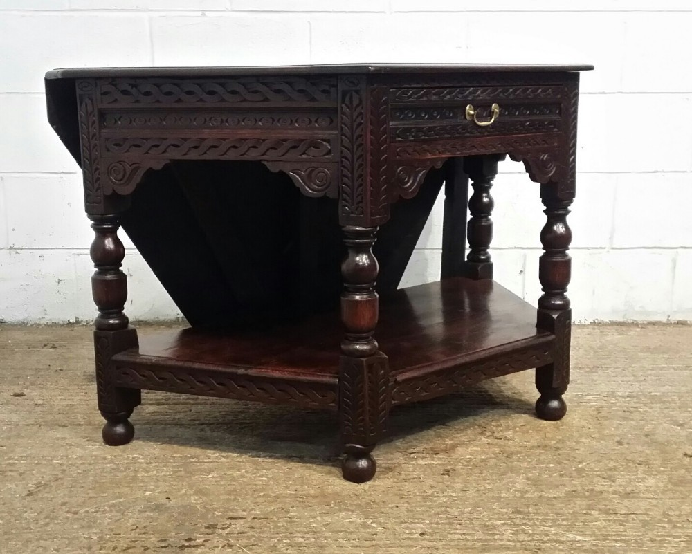 antique late 18th century country oak credence table c1790