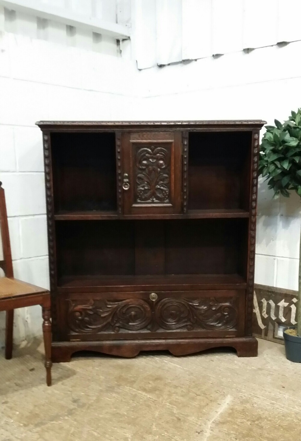 antique late victorian carved gothic oak bookcase c1890