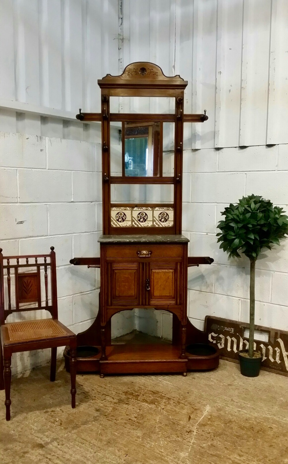 antique victorian aesthetic oak marble top hall stand c1890
