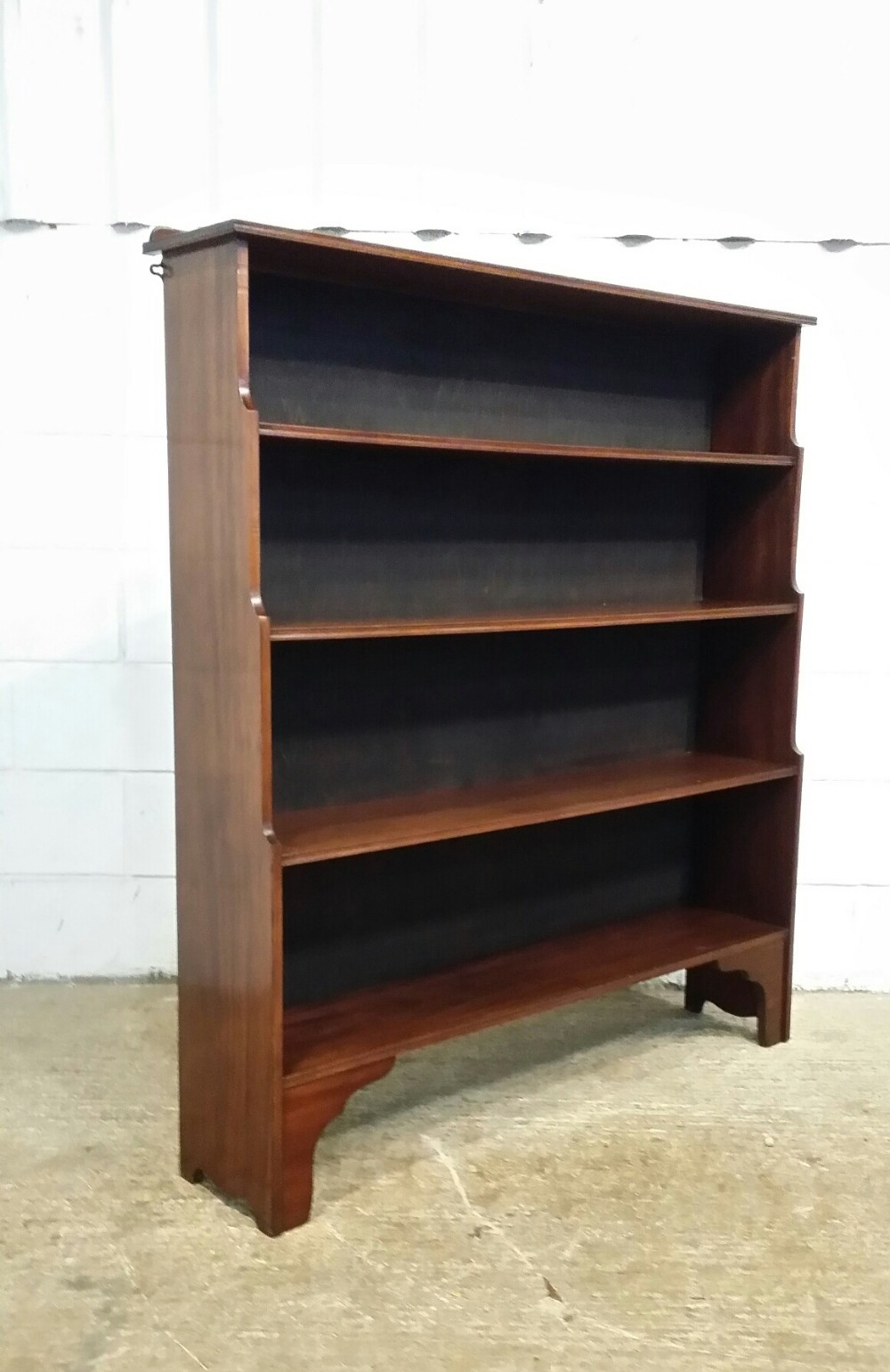 antique edwardian mahogany waterfall open bookcase c1900