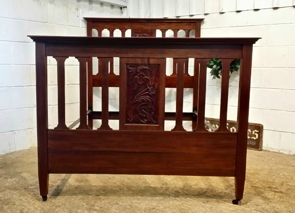 antique late victorian art nouveau walnut double bed c1890