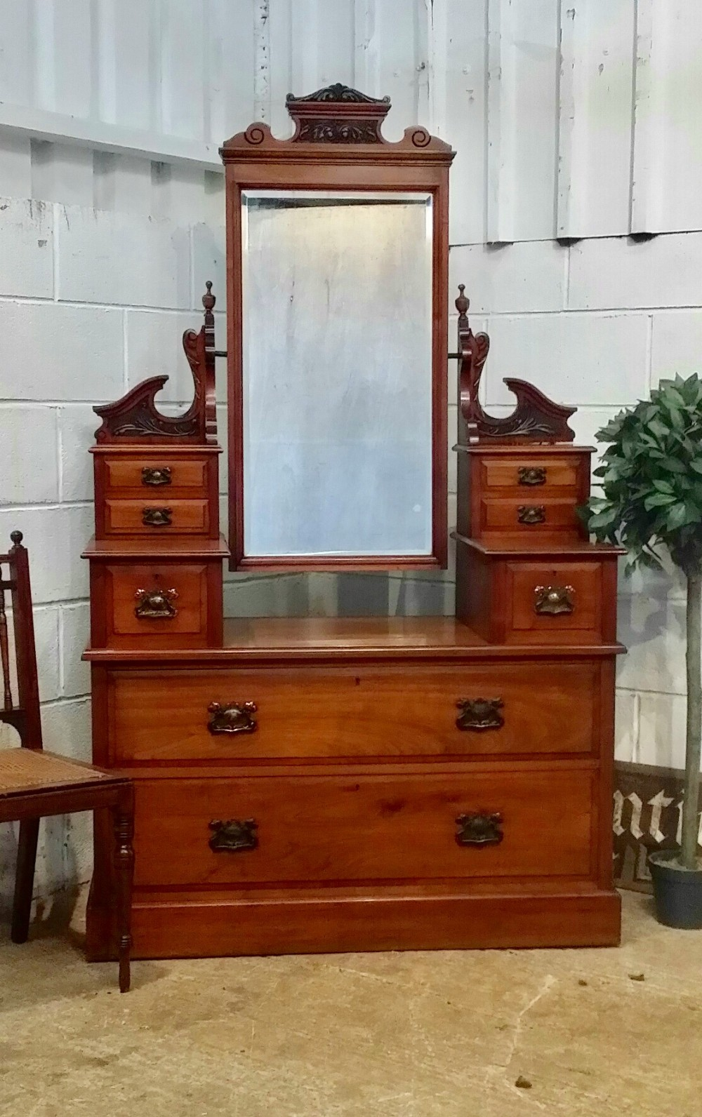 antique late victorian art nouveau walnut dressing table chest c1890