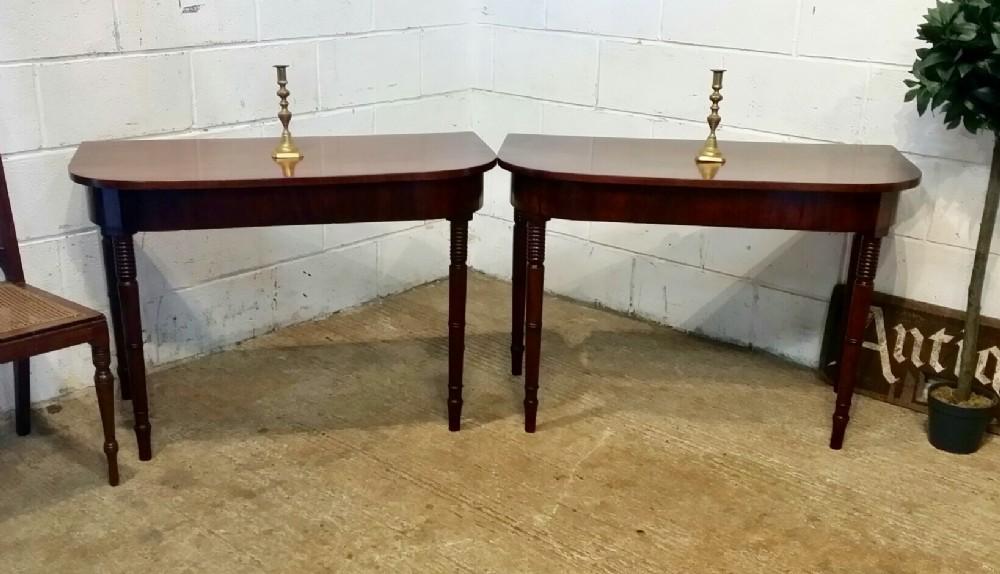 antique pair regency mahogany d end side tables c1820