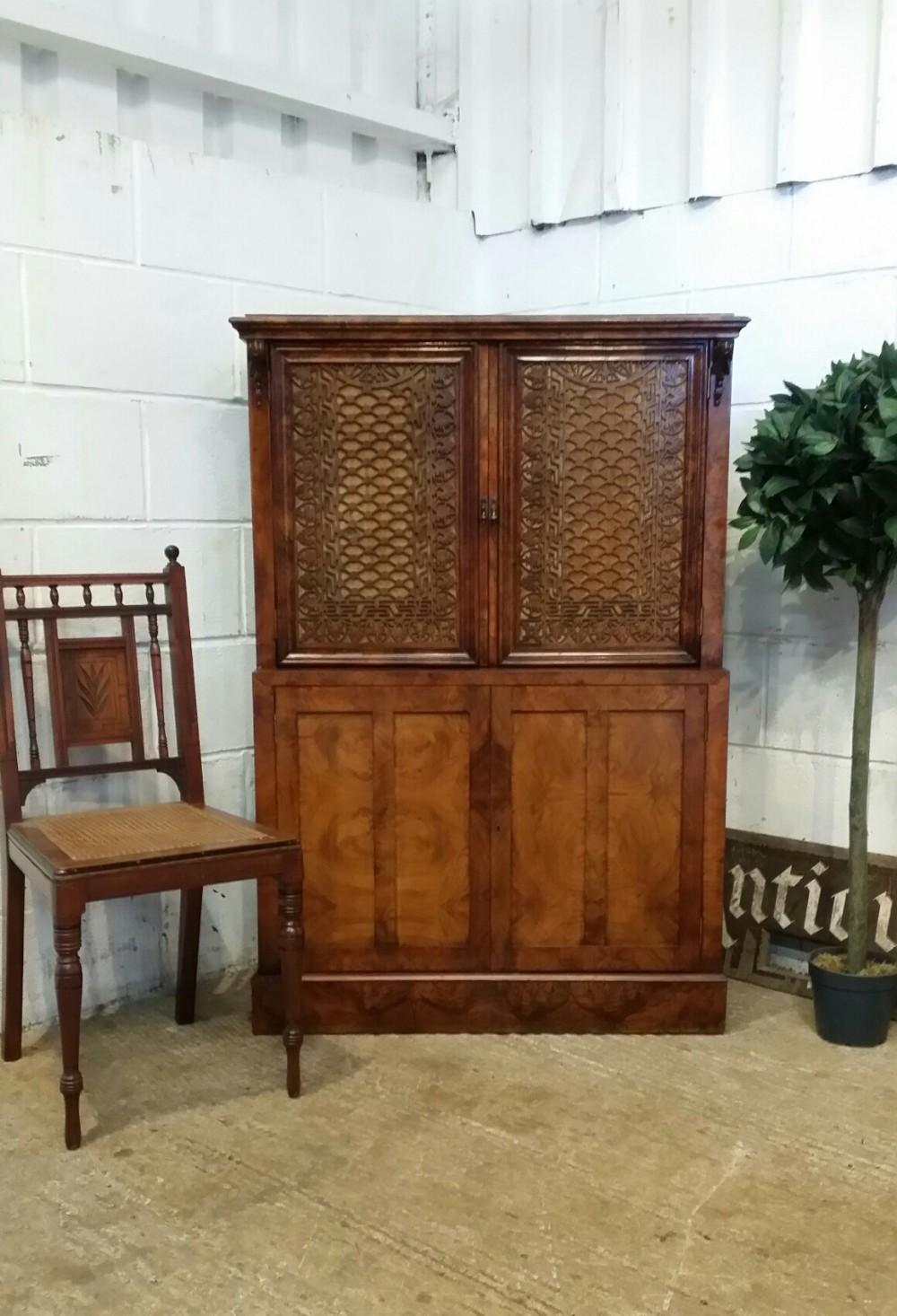 antique victorian chippendale burr walnut side cabinet c1880