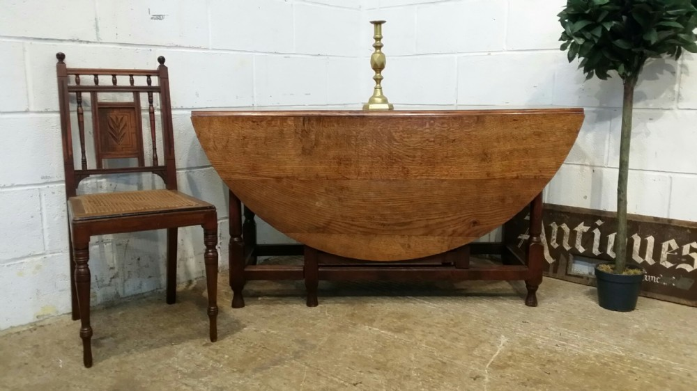antique period joined oak plank top gate leg dining table c1780