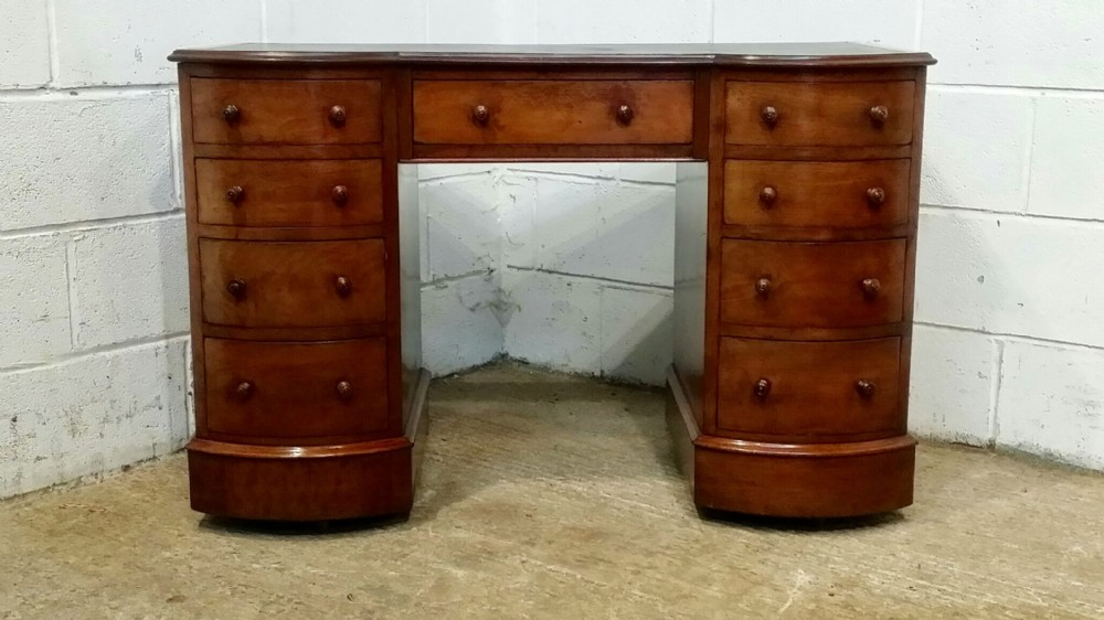 antique edwardian mahogany bow front pedastal desk c1900
