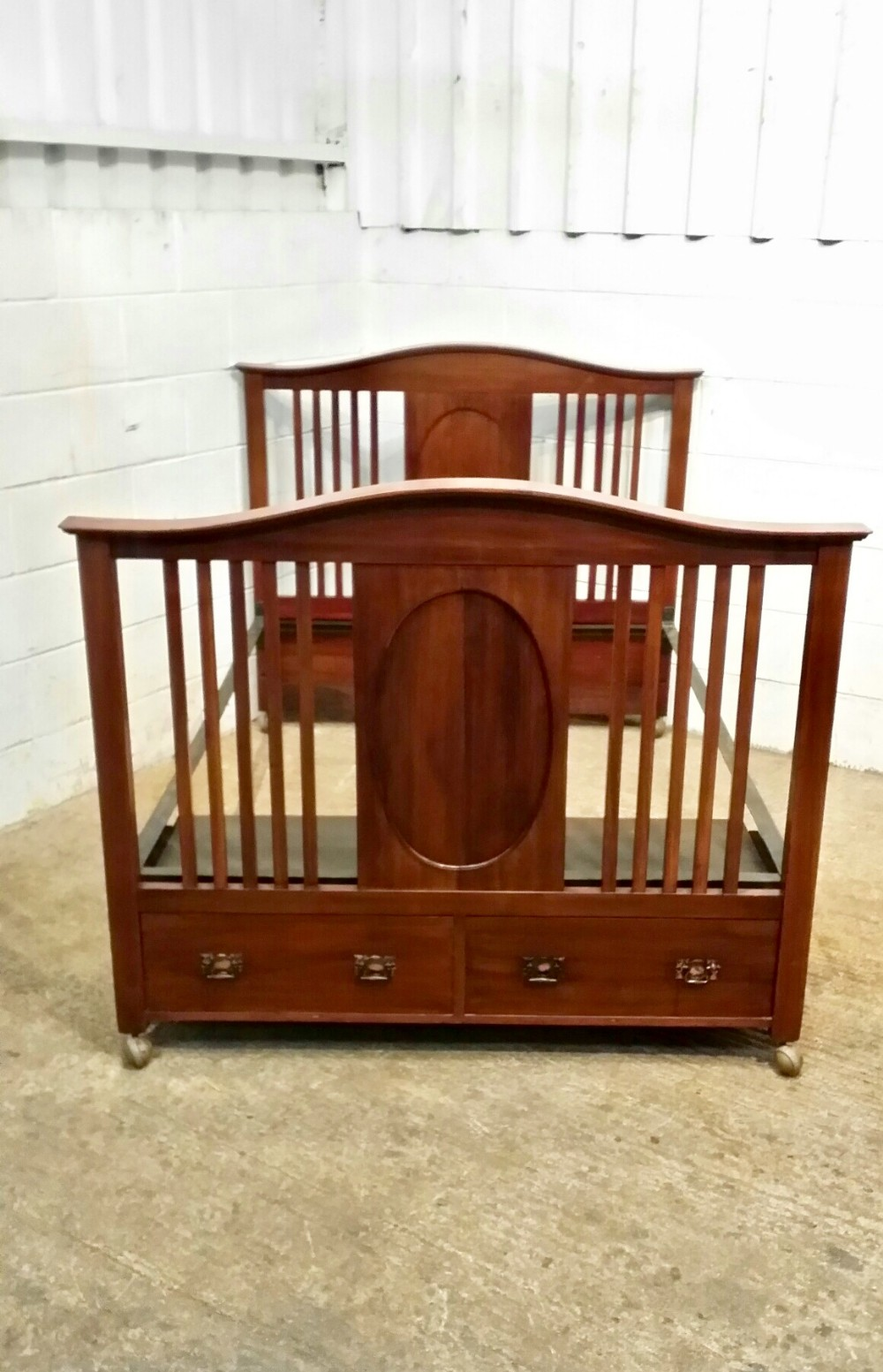 antique edwardian mahogany double bed with drawers c1900