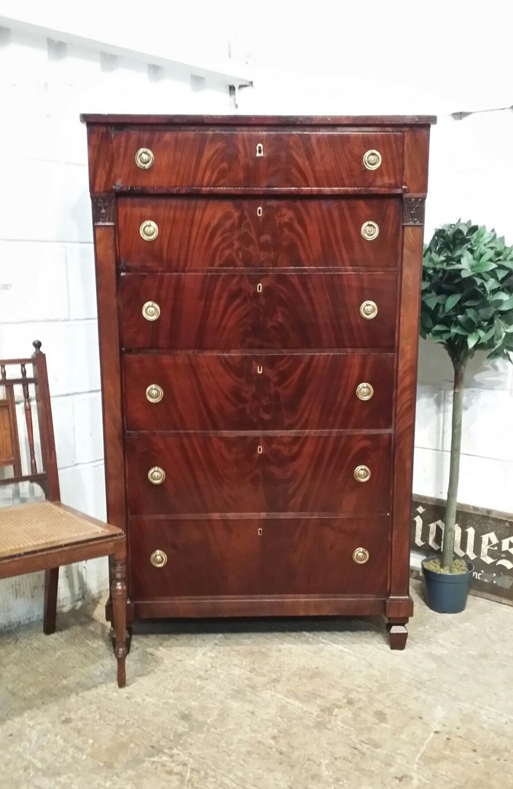 antique french napoleon 111 mahogany tall chest of drawers c1870