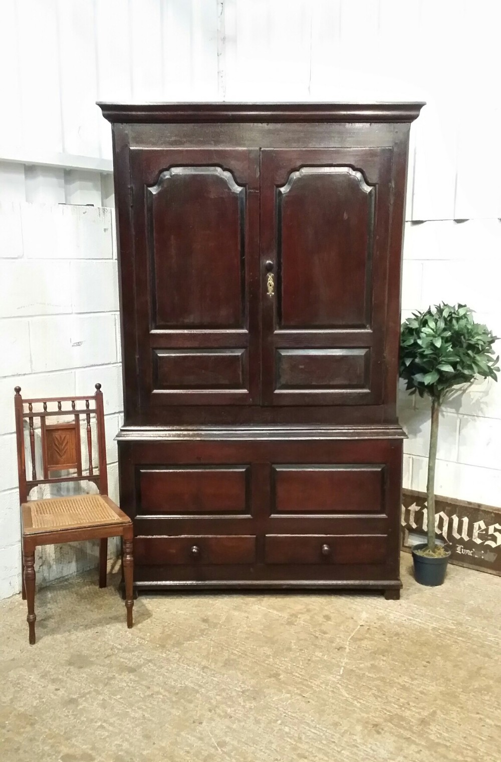 antique georgian period joined oak tack cupboard press c1770