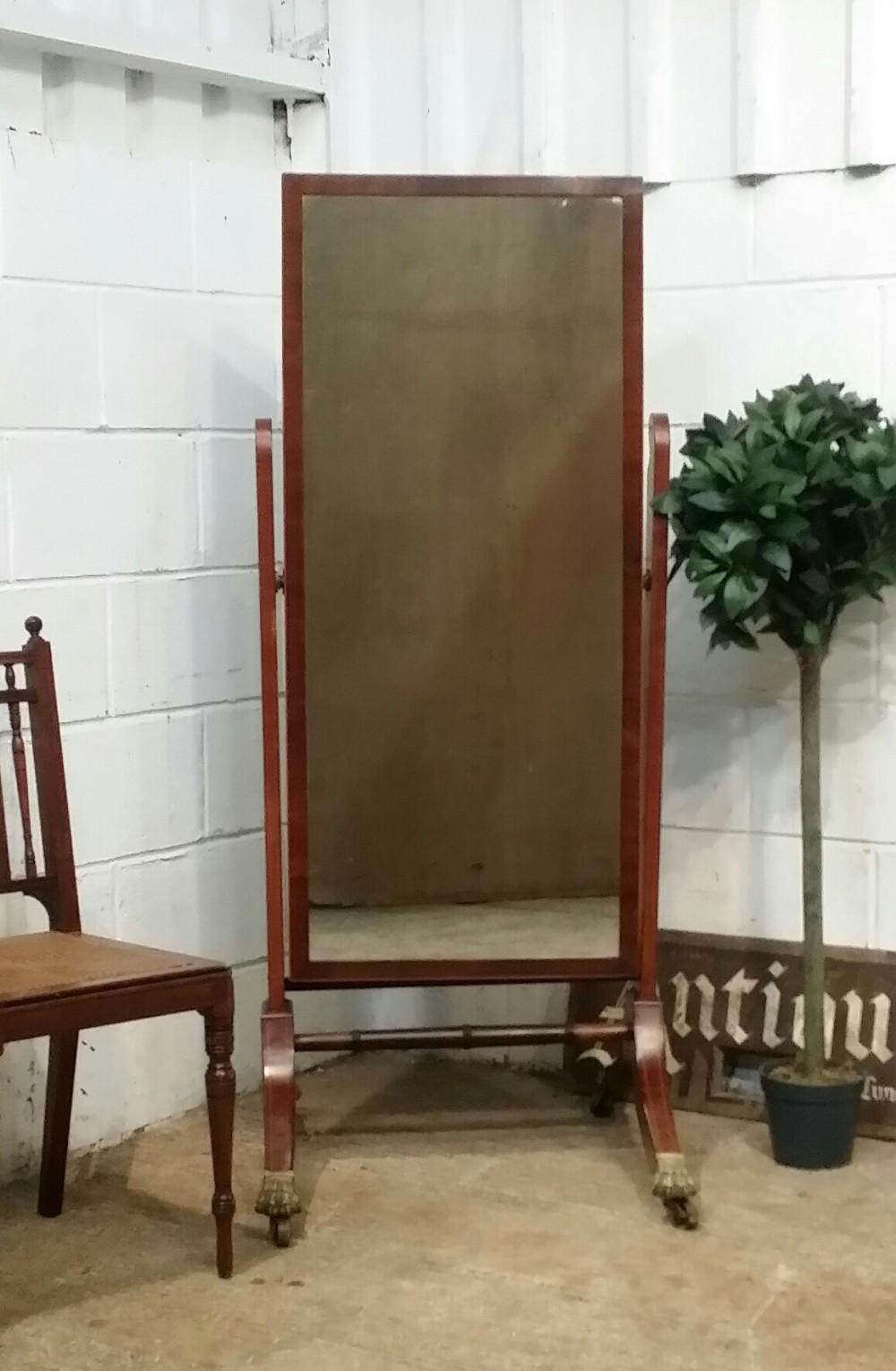 antique english regency mahogany cheval mirror c1820