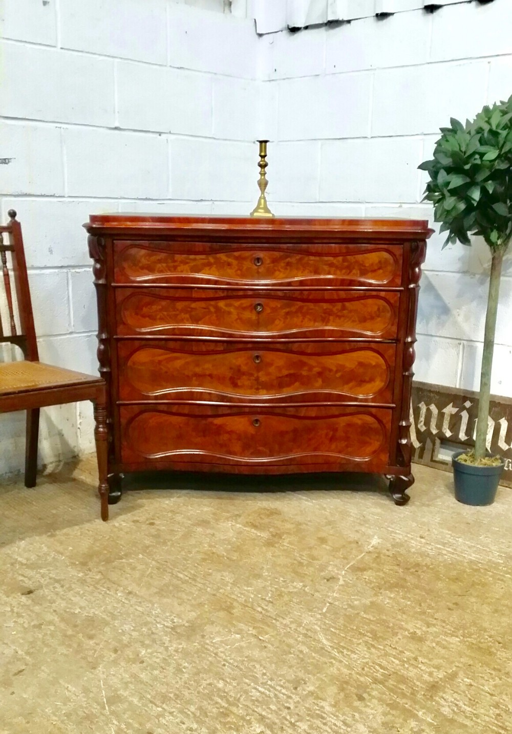 antique 19th century biedermeier serpentine front mahogany chest of drawers c1890