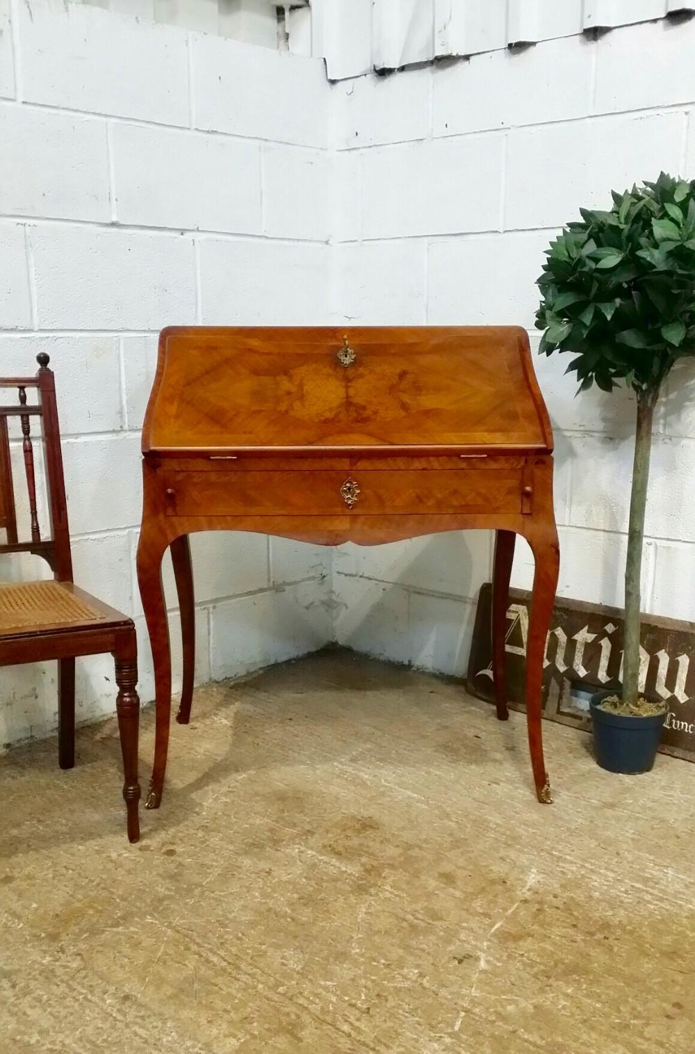 antique french walnut ladies bureau with gilt mounts c1920