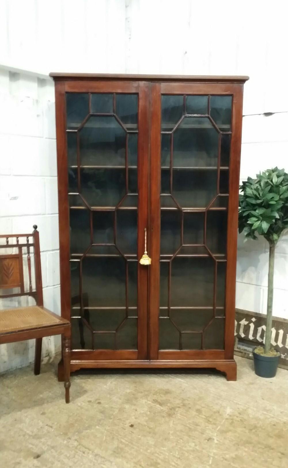 antique regency mahogany astragal glazed bookcase c1820