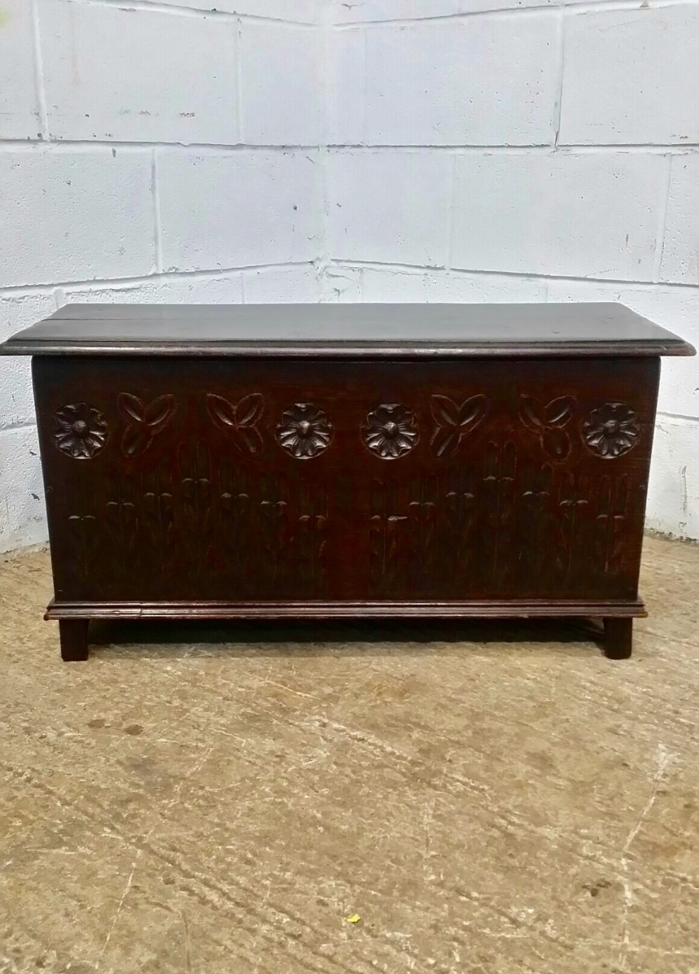antique small carved oak coffer box c1920