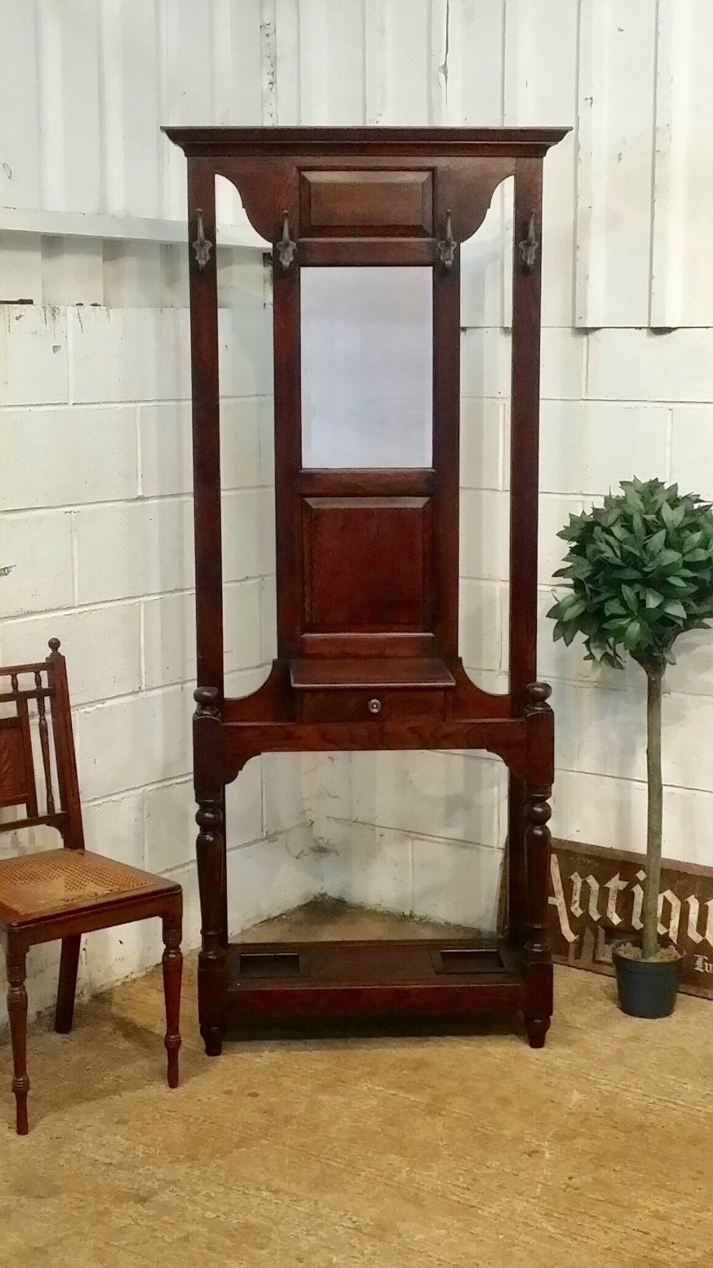 antique edwardian oak hall stand c1900