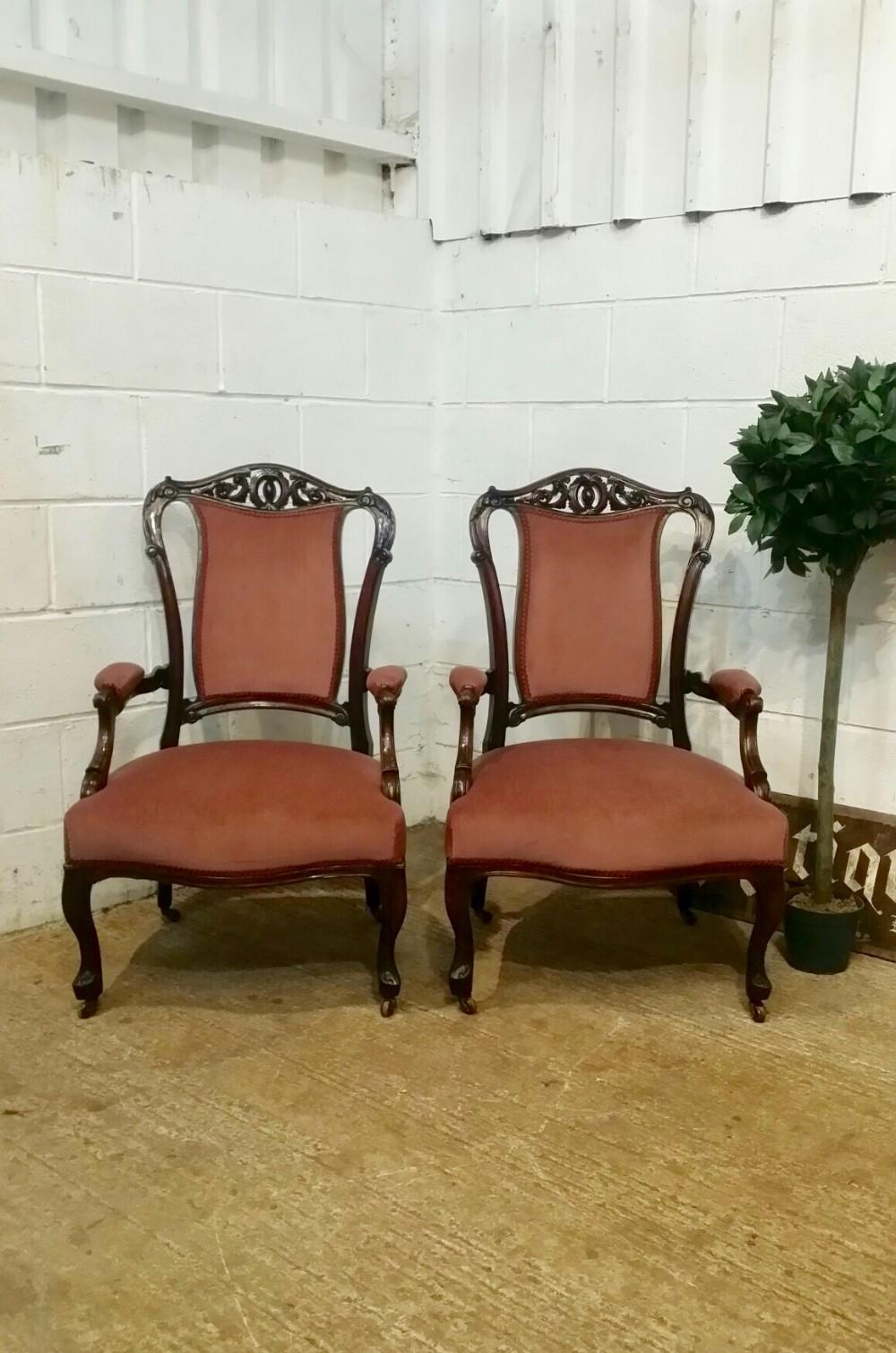 antique pair victorian mahogany armchair c1880
