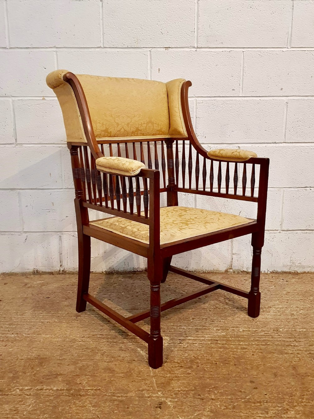 antique arts and crafts mahogany framed salon chair c1890