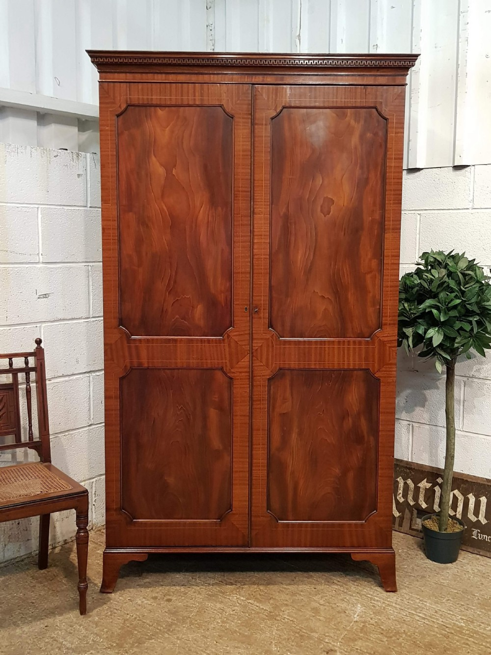 antique edwardian regency mahogany double wardrobe c1900