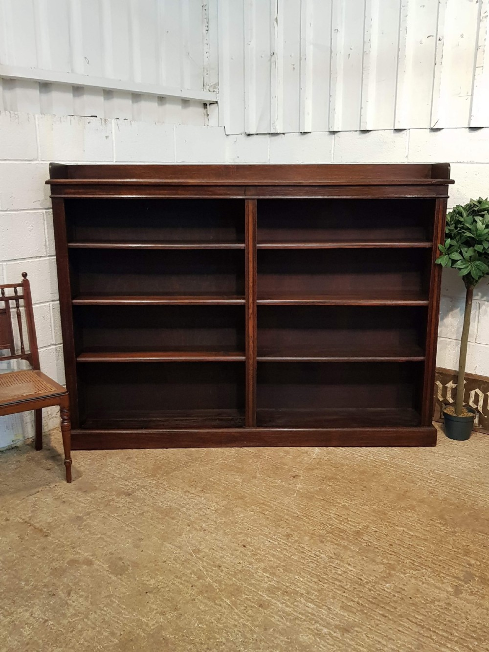 antique large victorian oak open bookcase c1880