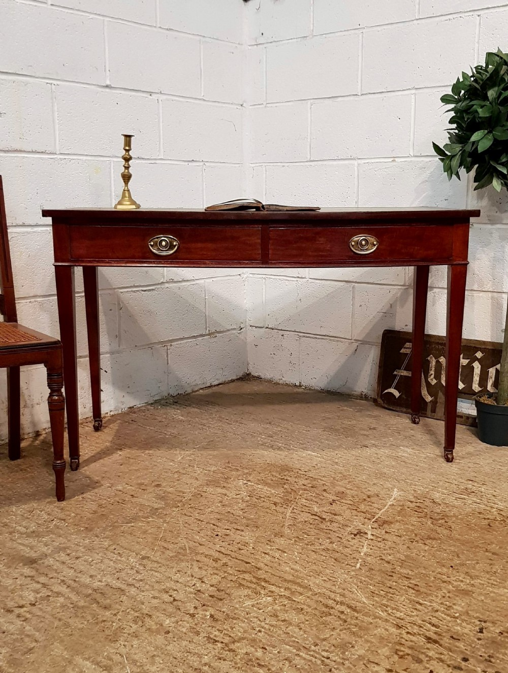 antique late victorian regency style mahogany leather top bow front writing table c1890