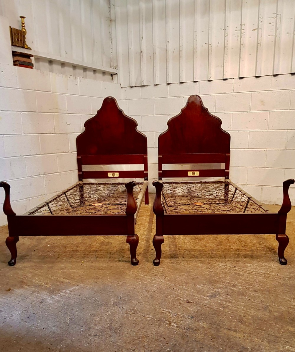 antique pair mahogany queen anne style single beds by staples c1920