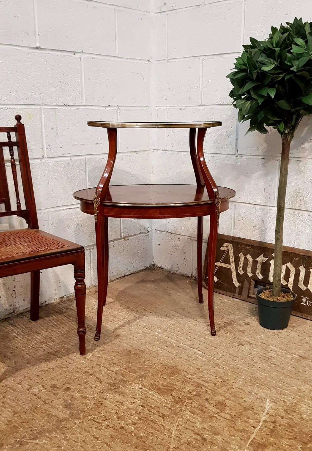 antique french mahogany gilt inlaid etagere table with superb sunburst c1900