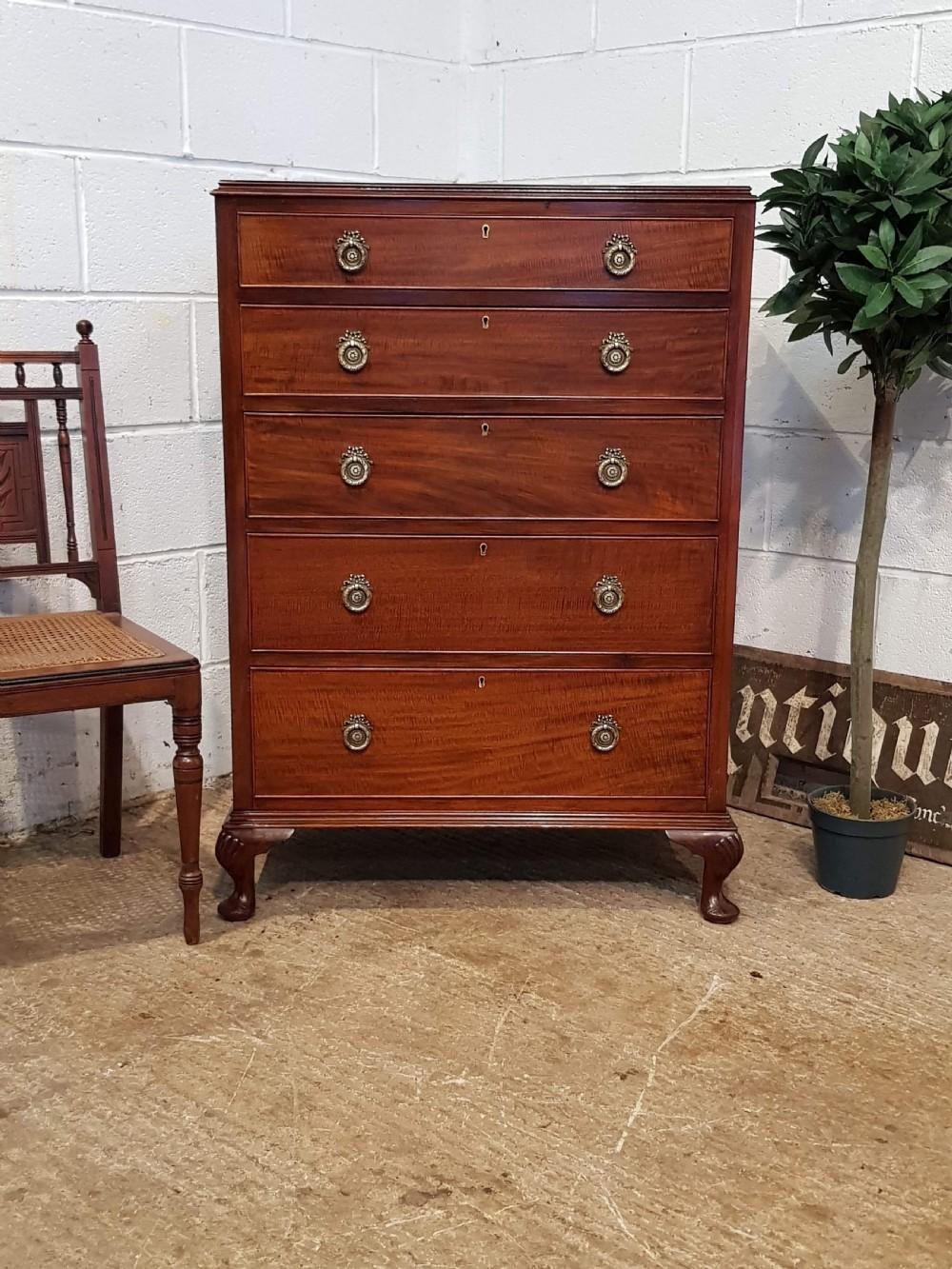 antique edwardian regency mahogany tall narrow chest of drawers c1900
