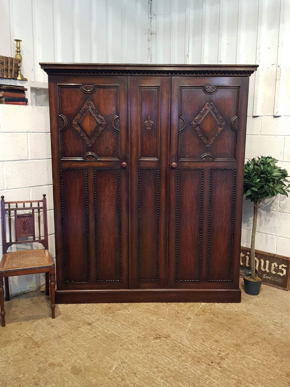 antique edwardian carved oak double wardrobe c1900