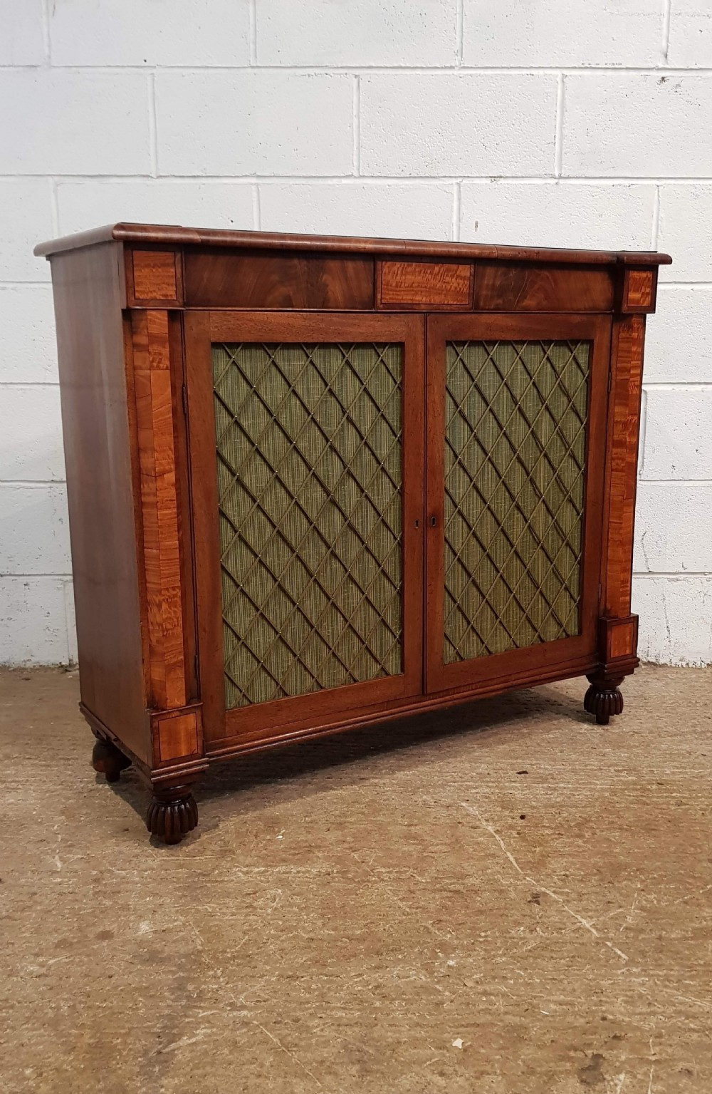 antique william 1v mahogany satinwood chiffonier sideboard with original gilt brass grills c1830