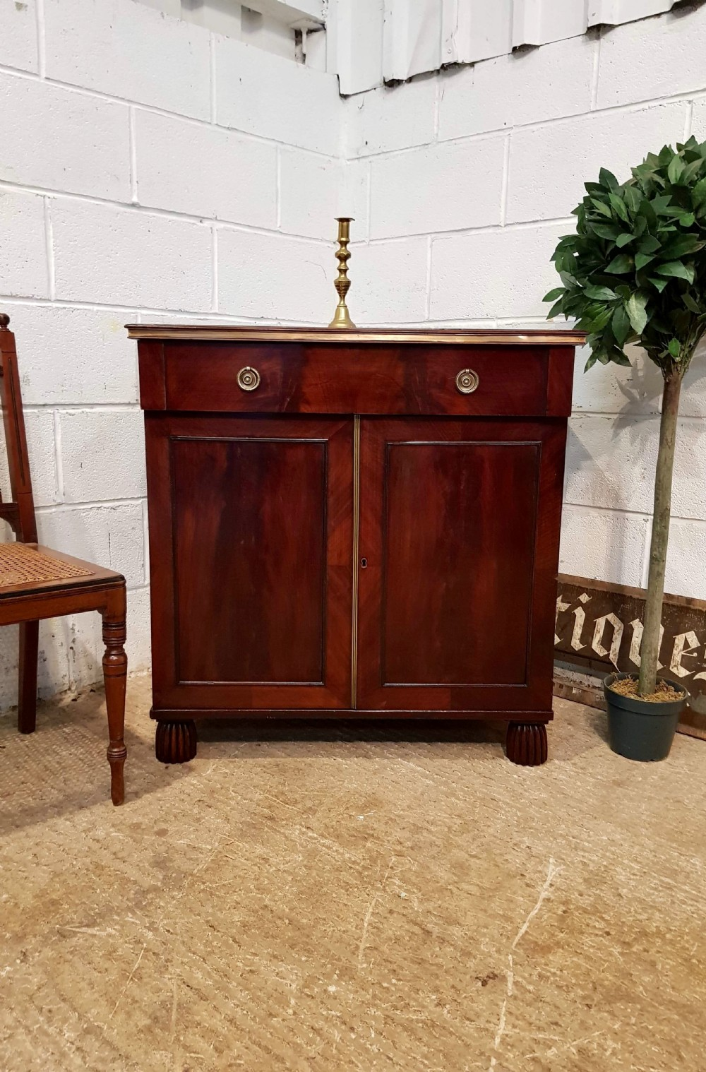 antique small regency cuban mahogany side cabinet with brass gilt fittings c1820