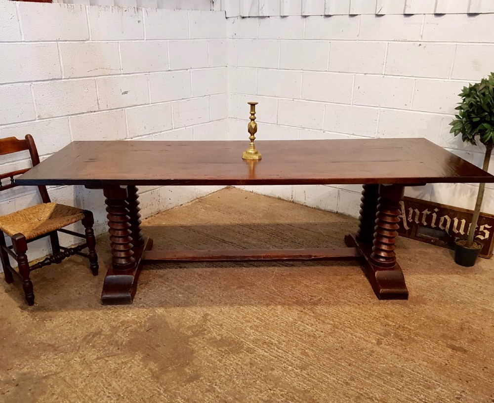 antique french provincial plank top oak refectory dining table c1900 seats 1012