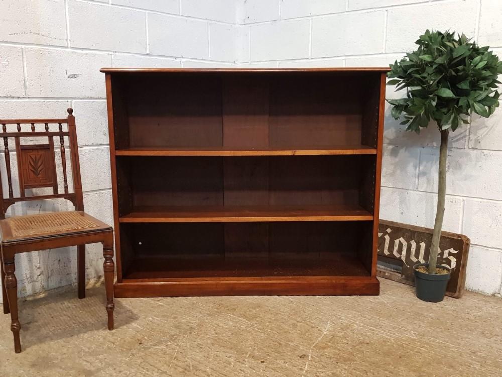 antique victorian walnut open bookcase c1880