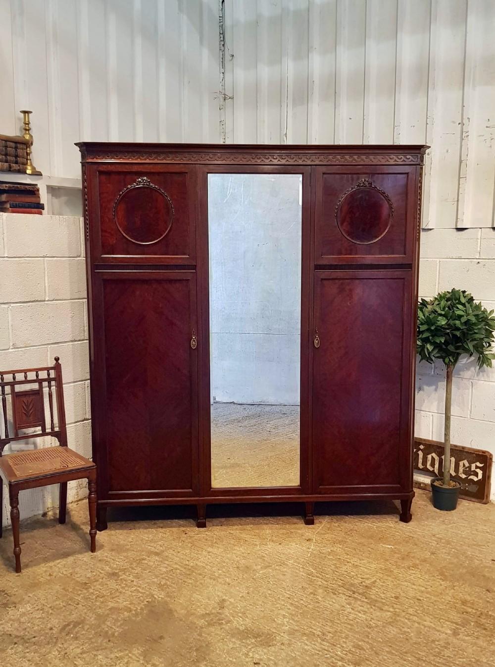 antique edwardian mahogany triple wardrobe c1900