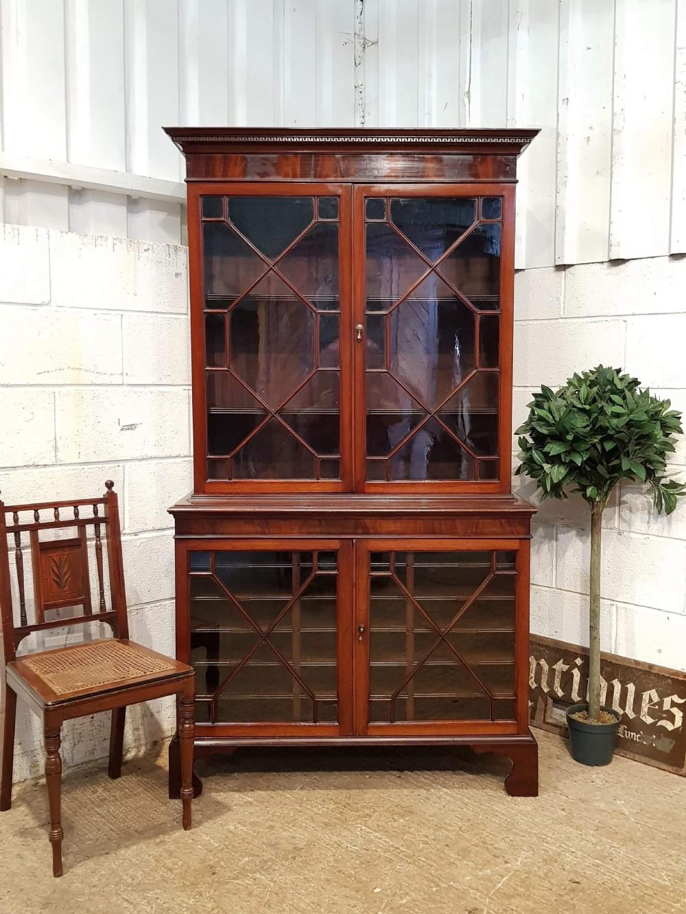 antique mahogany astragal glazed solicitors bookcase c1920