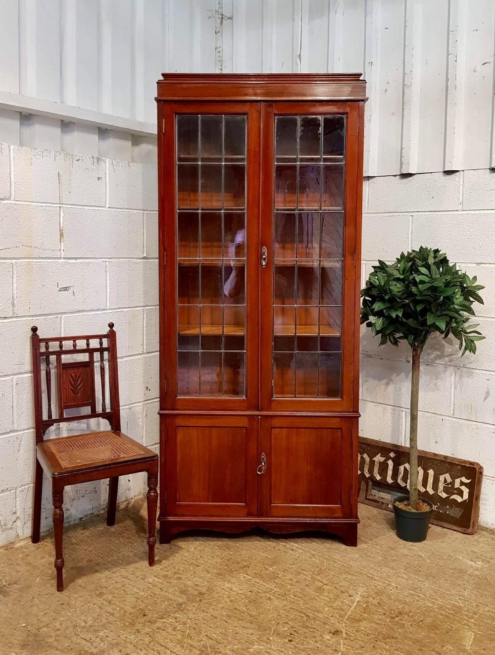 antique edwardian mahogany tall glazed bookcase c1900