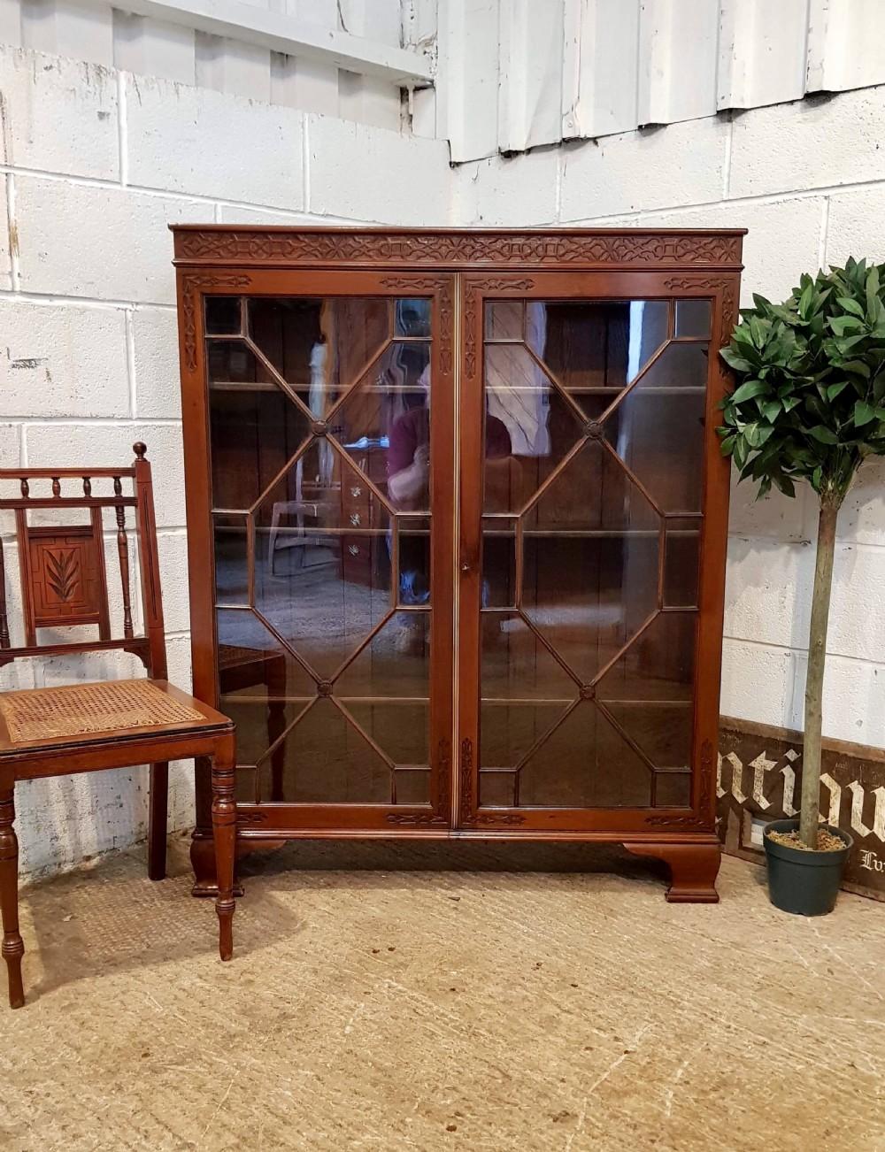 antique edwardian chippendale mahogany astragal glazed bookcase c1900