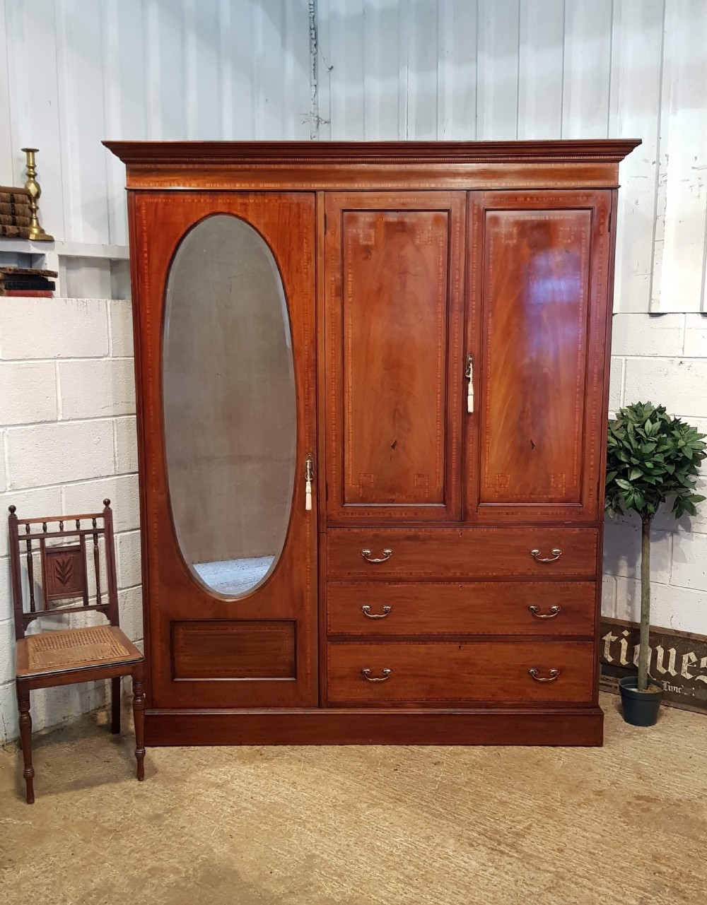 antique edwardian mahogany wardrobe compactum c1900