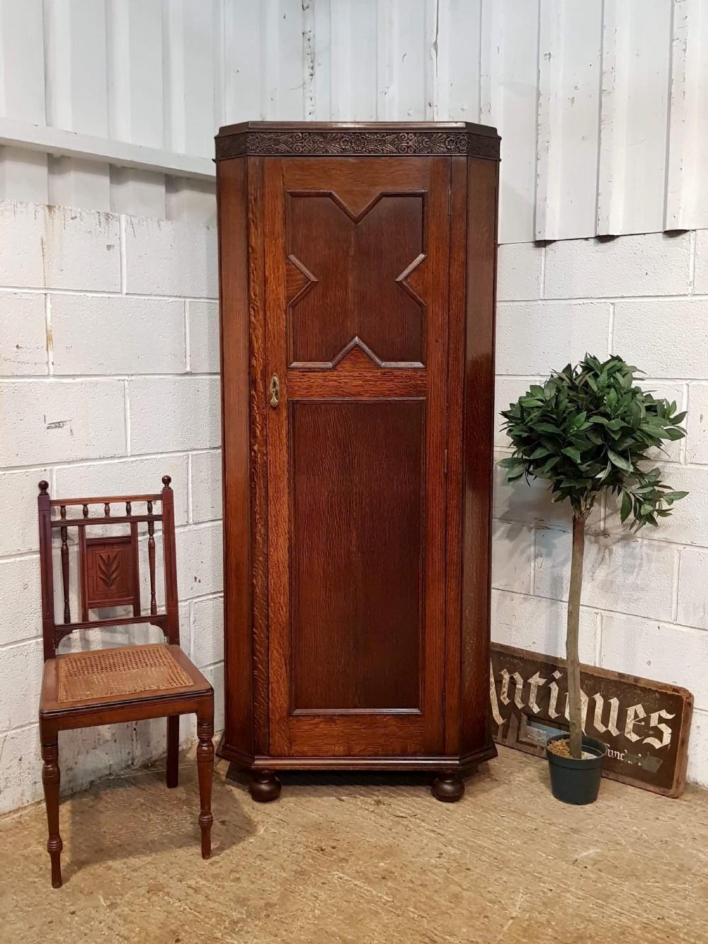 antique geometric oak hall wardrobe c1920