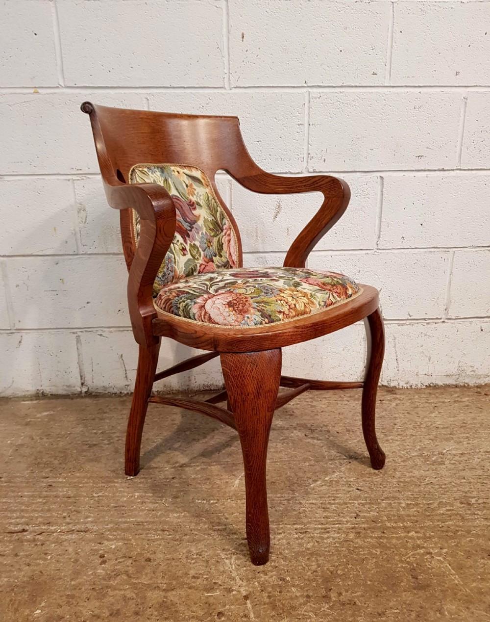 antique arts crafts oak desk library chair c1900