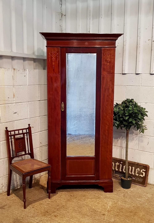 antique edwardian inlaid mahogany single narrow wardrobe c1900