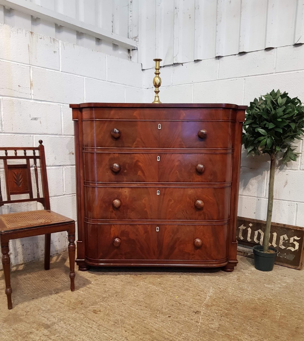 antique victorian mahogany bow front chest of drawers c1880