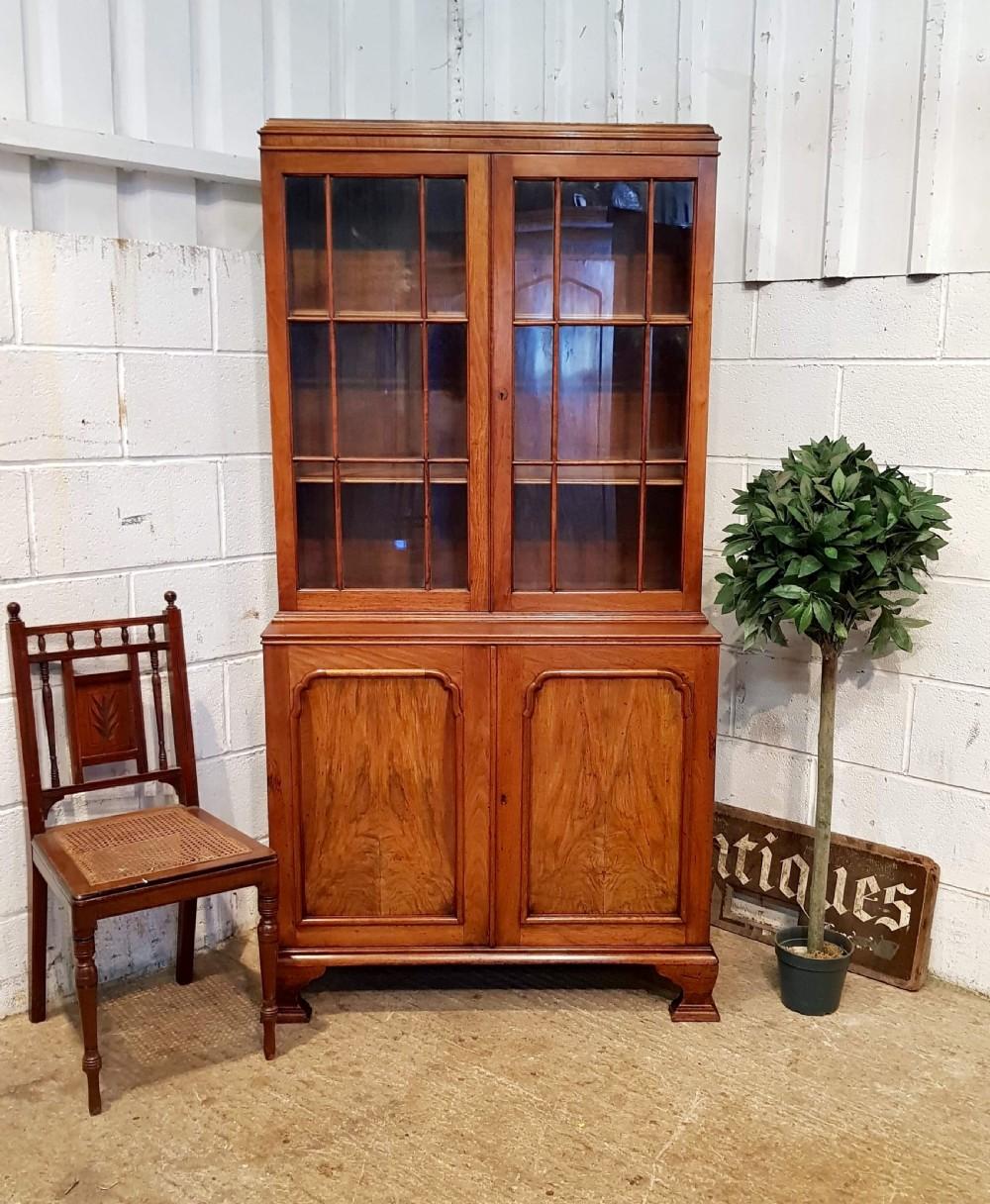 antique walnut glazed library bookcase by willey lockhead glasgow c1920