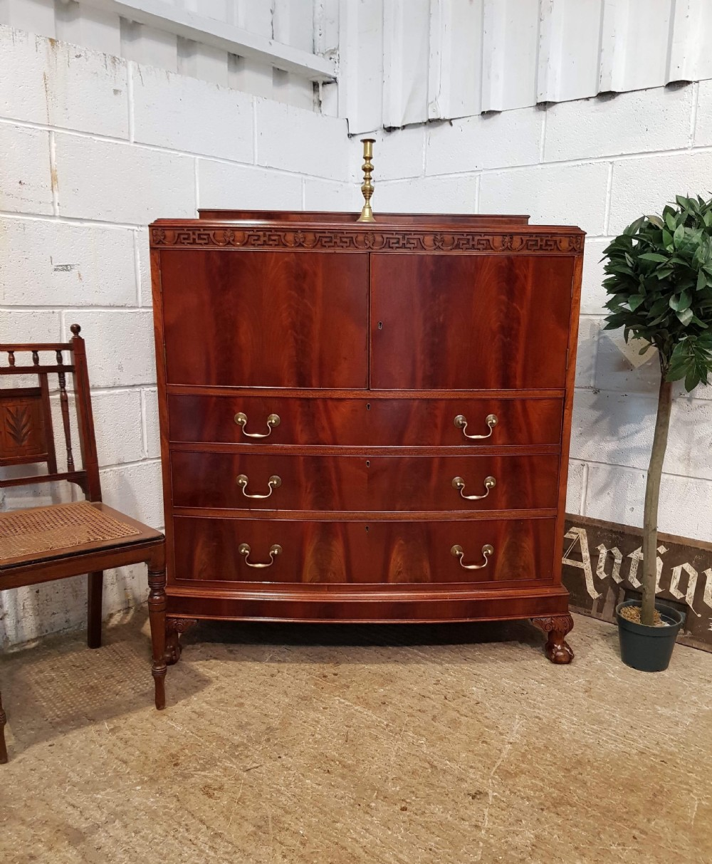 antique edwardian mahogany bow front tallboy chest of drawers c1920