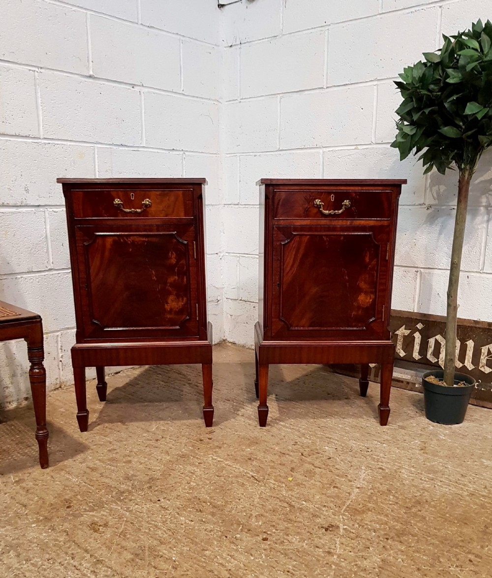 antique pair flamed mahogany bedside cabinets c1920
