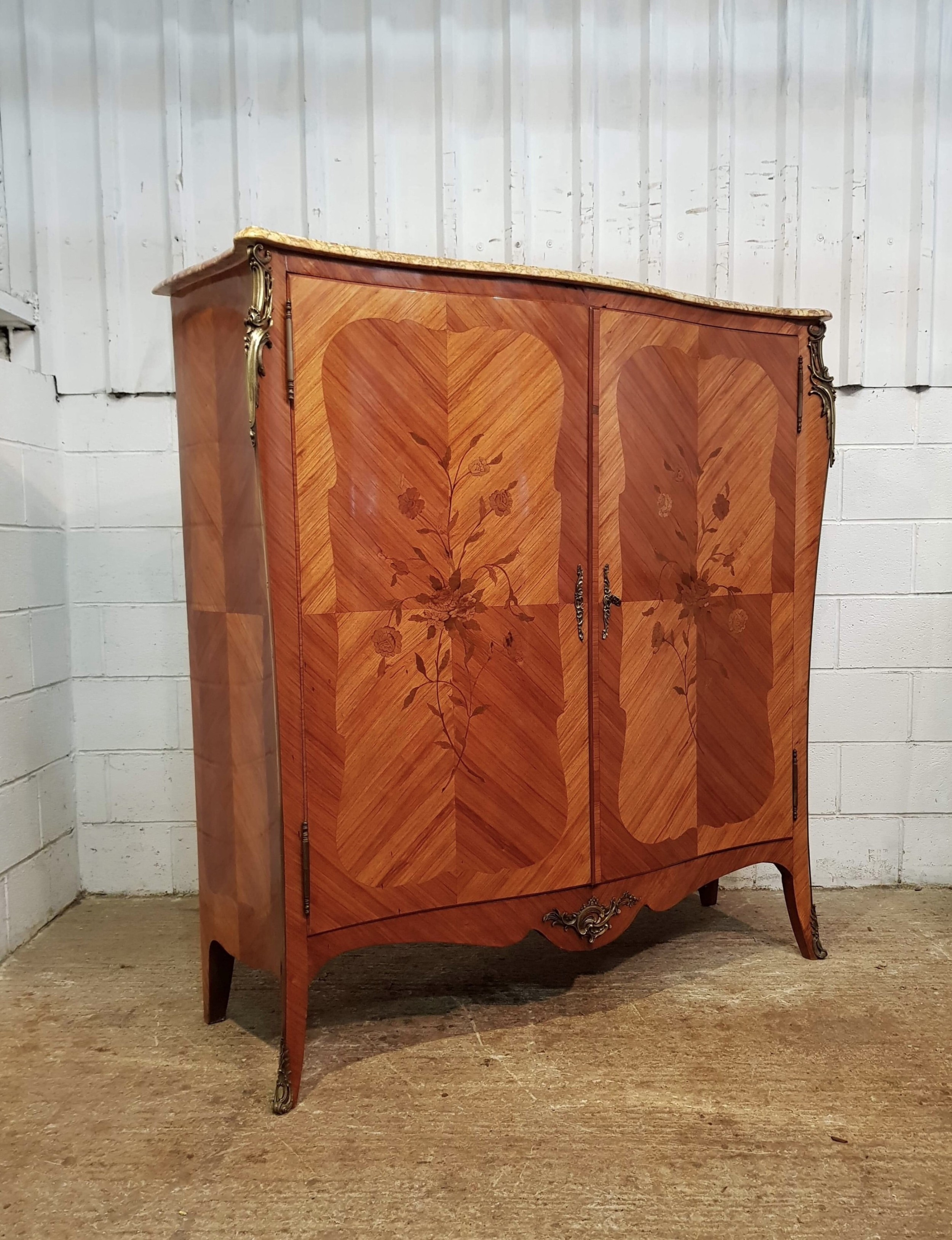 antique french parquetry decorative marble topped cabinet c1920