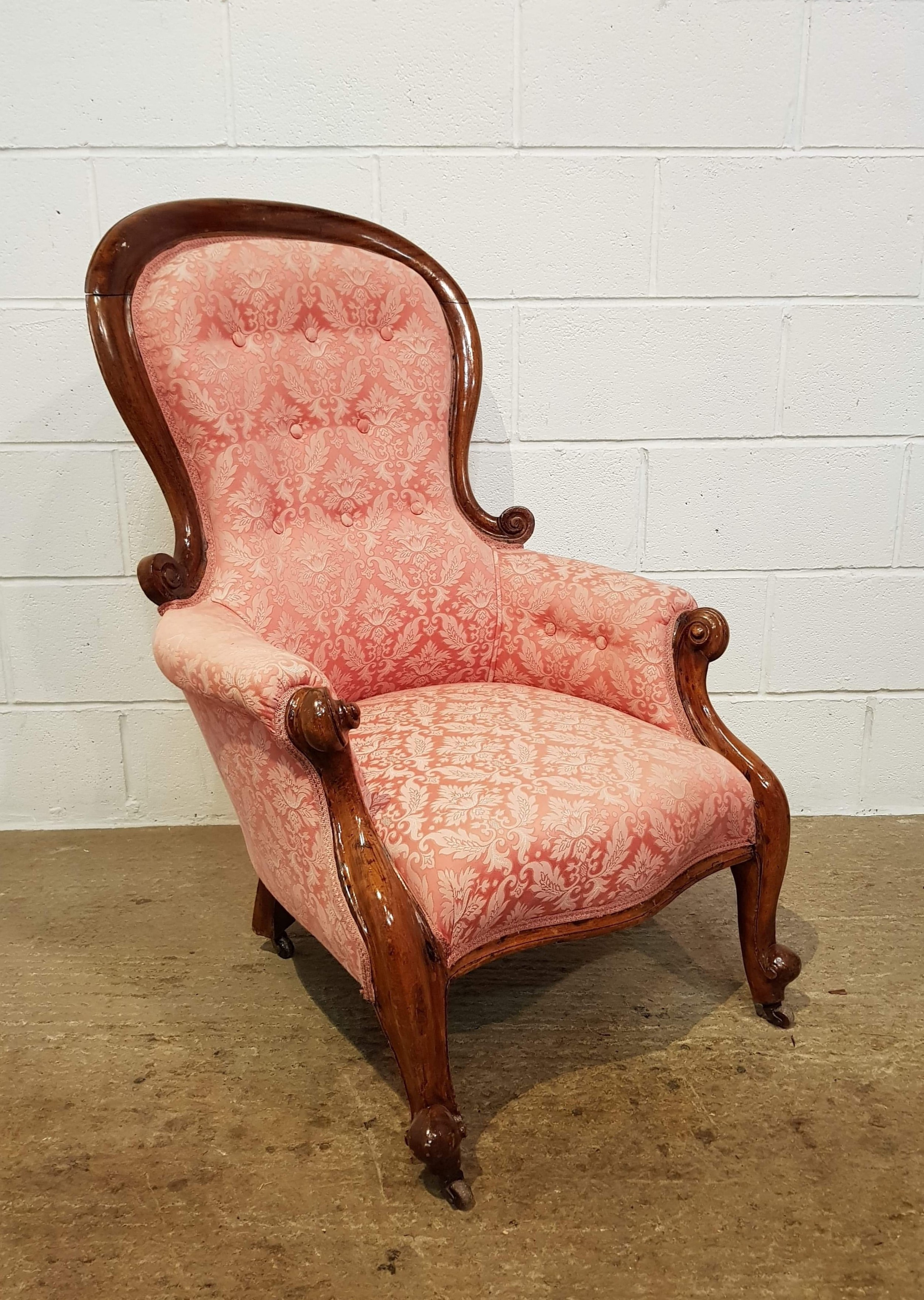 antique victorian walnut show frame spoon back armchair c1880