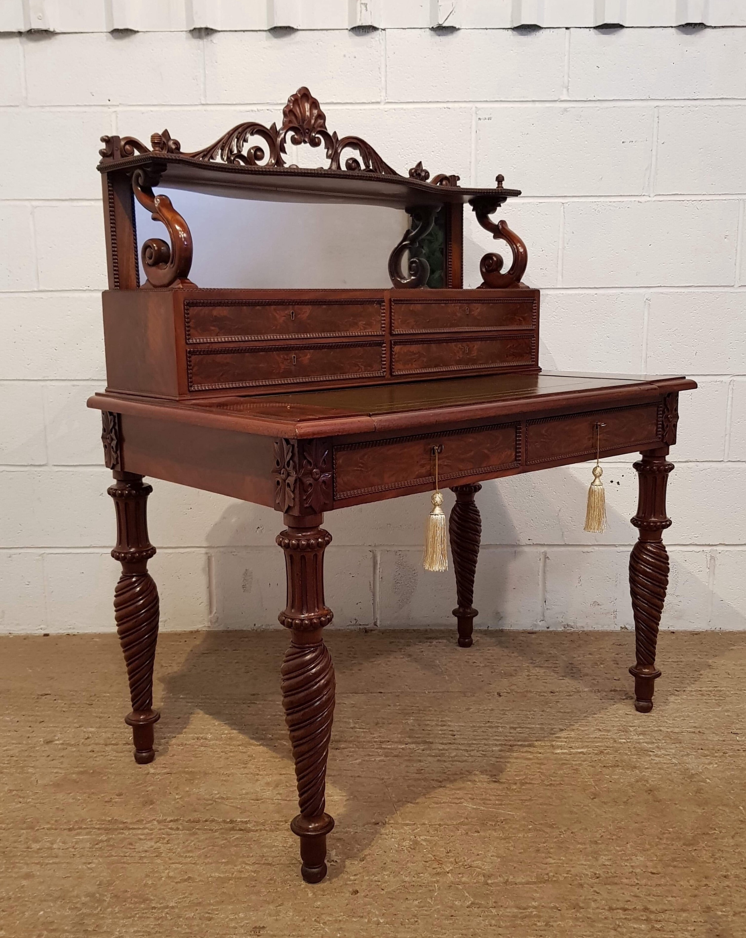 antique william 1v mahogany mirror backed gillows writing desk c1830