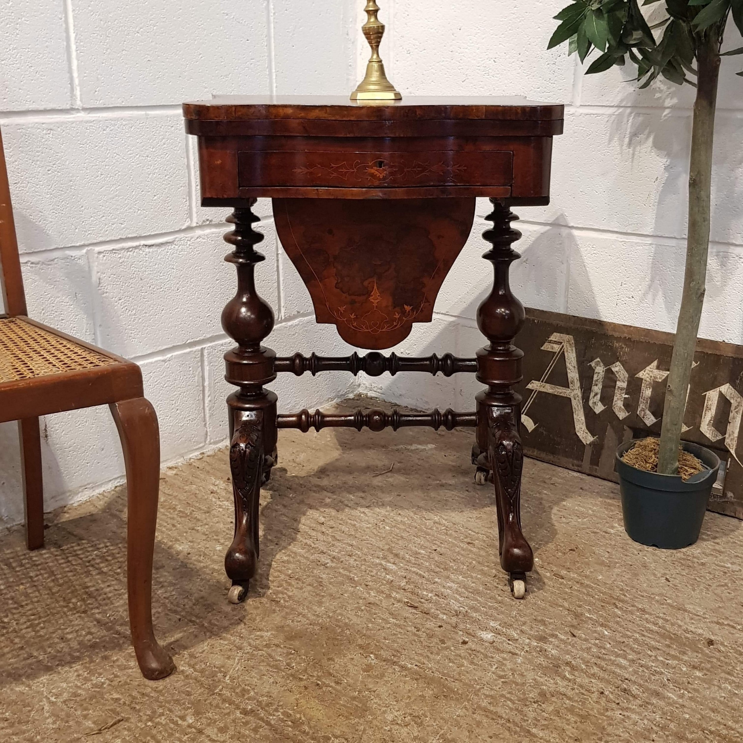 superb antique victorian inlaid walnut fold over games table work box c1880