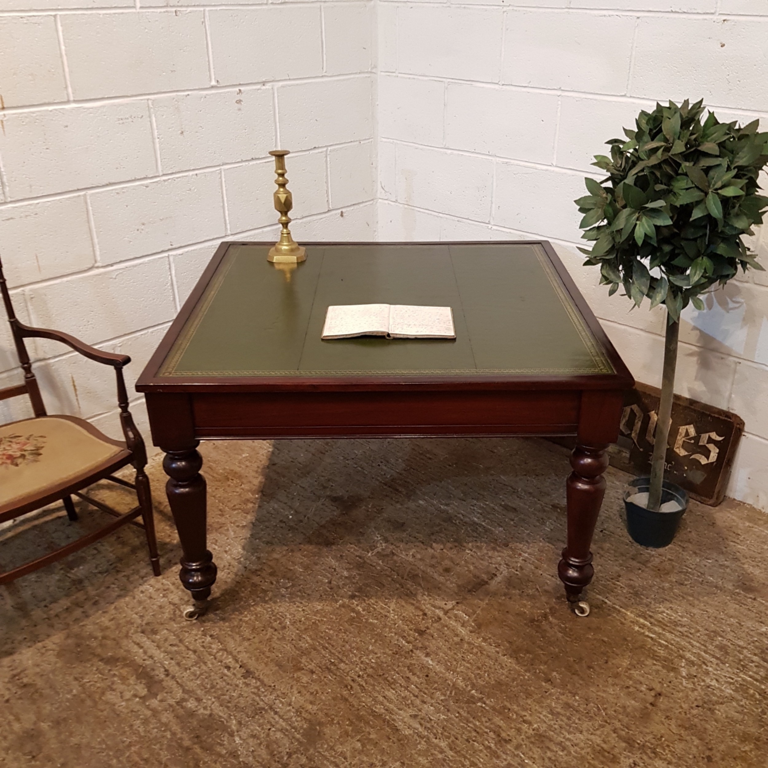 antique victorian mahogany leather top partners library desk c1880